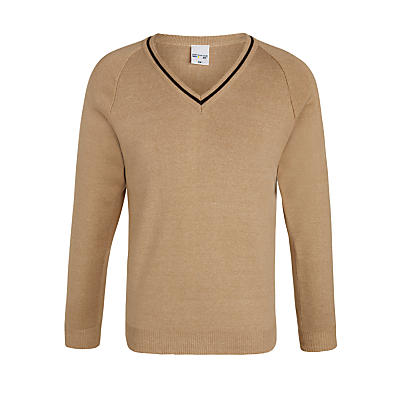 Product photo of The hertfordshire and essex high school jumper girls jumper camel brown trim