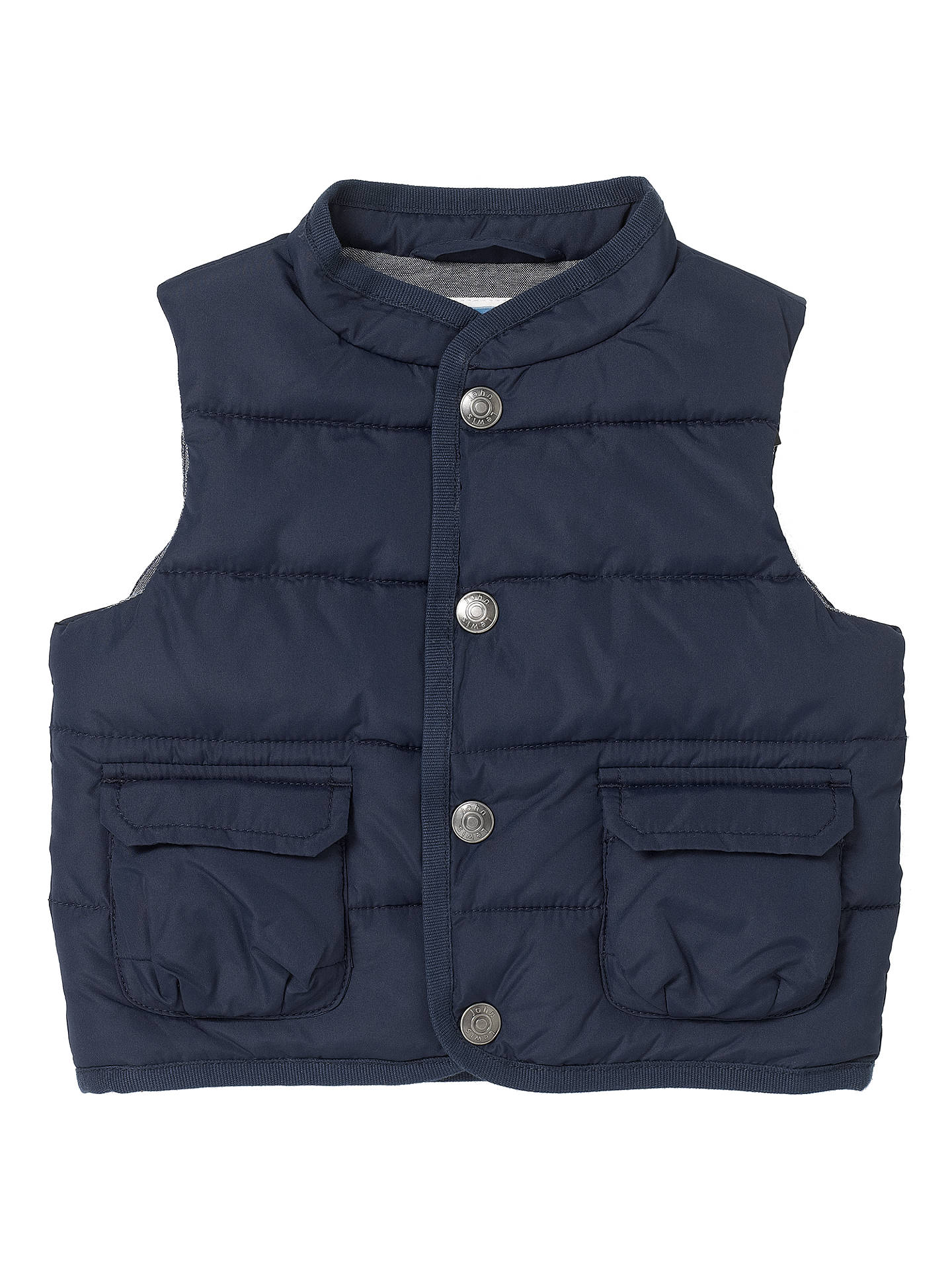 Buy John Lewis Baby Padded Gilet Sleeveless Jacket, Navy, 3-6 months Online at johnlewis.com