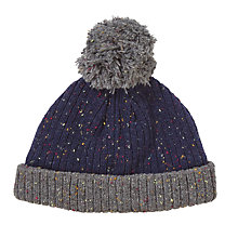 Buy John Lewis Flecked Knitted Bobble Hat, Navy/Grey Online at johnlewis.com