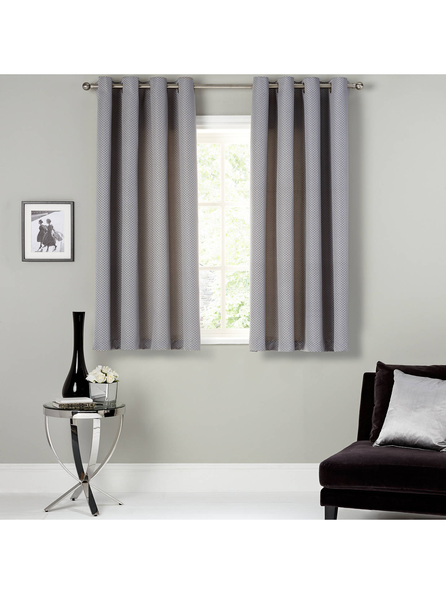 BuyJohn Lewis & Partners Contour Pair Lined Eyelet Curtains, Blue / Grey, W228 x Drop 137cm Online at johnlewis.com
