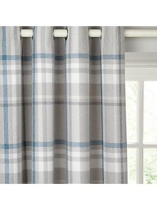 John Lewis & Partners Darcey Check Pair Lined Eyelet Curtains