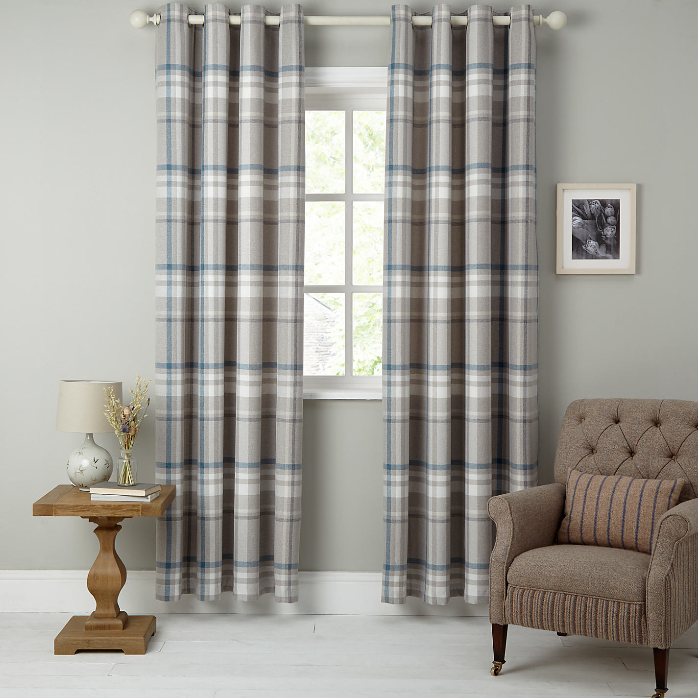 Buy John Lewis Darcey Check Lined Eyelet Curtains John Lewis - John lewis curtains grey