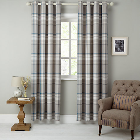 Buy John Lewis Darcey Check Lined Eyelet Curtains Online At Johnlewis