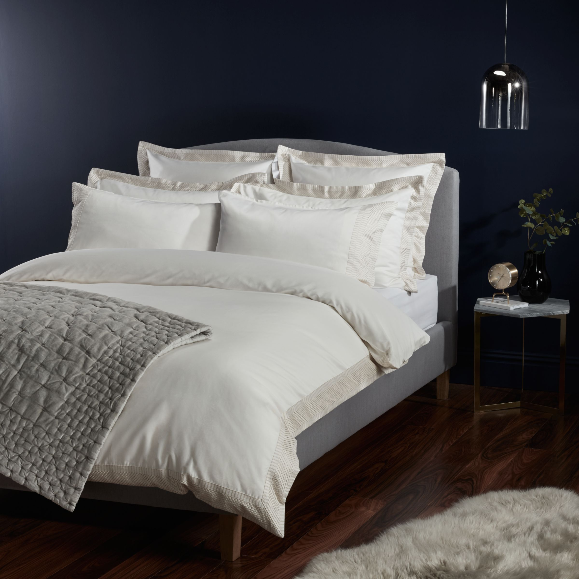 John Lewis & Partners Soft and Silky Treviso Cotton Duvet Covers and Pillowcases, Cream