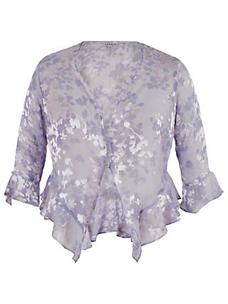 Chesca Lace Cap Devoree Applique Shrug, Lilac