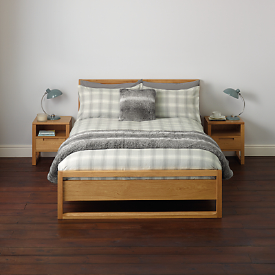 Image of John Lewis Brushed Cotton Check Duvet Cover and Pillowcase Set