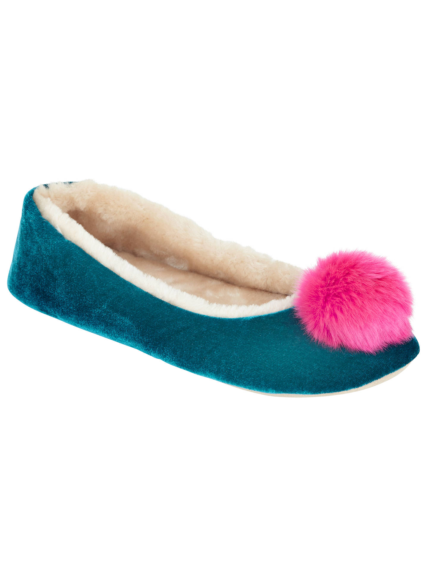 Buy John Lewis Velvet Pom Pom Ballerina Slippers, Teal, 3-4 Online at johnlewis.com