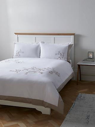 John Lewis & Partners Easy Care Border Embroidered Floral Duvet Cover and Pillowcase Set