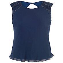 Buy Chesca Lace Trim Chiffon Camisole Top, Navy Online at johnlewis.com