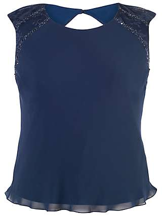 Chesca Lace Trim Chiffon Camisole Top, Navy