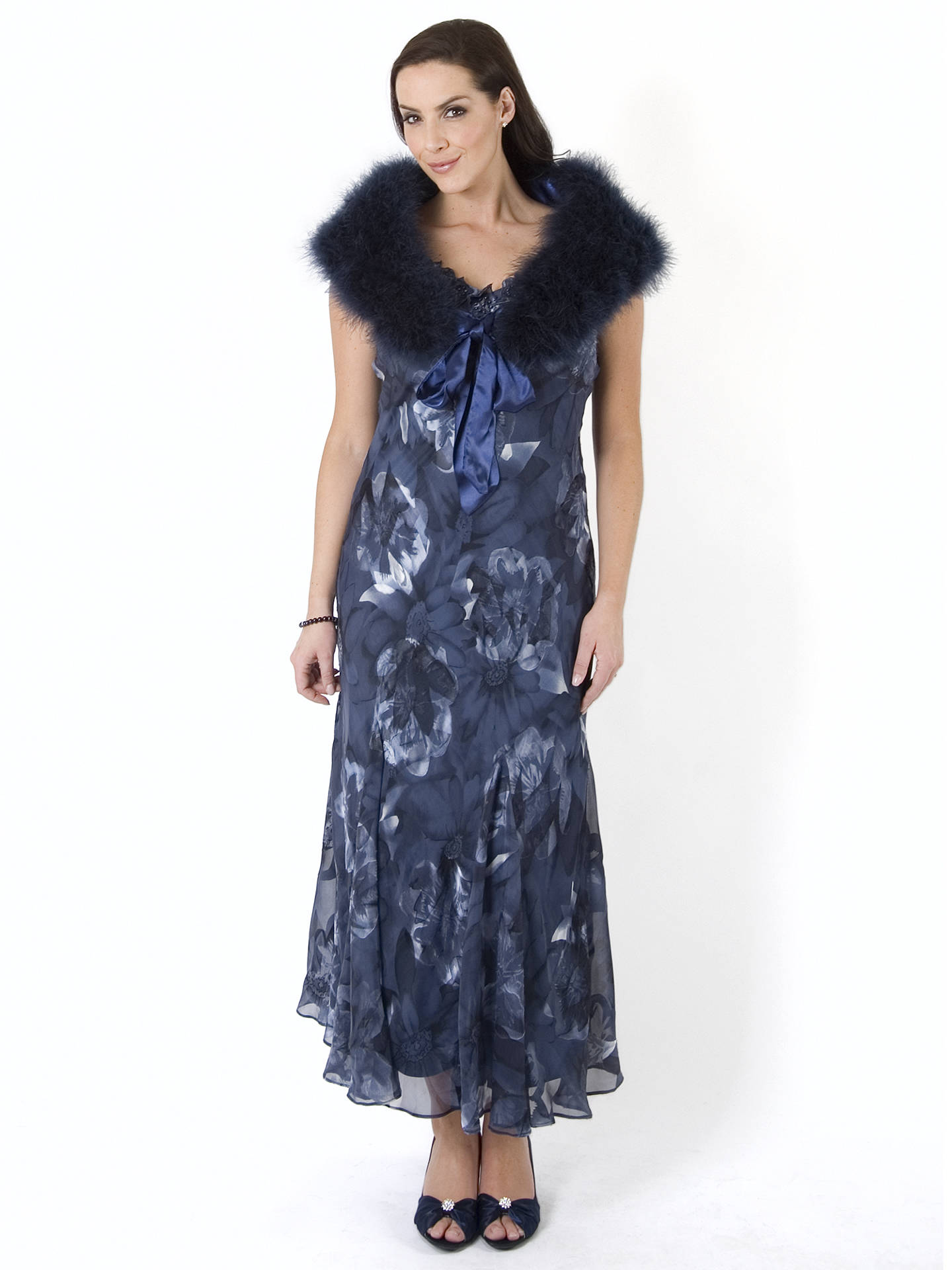 BuyChesca Dusk Floral Applique/Bead Trim Devoree Dress, Navy, 18 Online at johnlewis.com