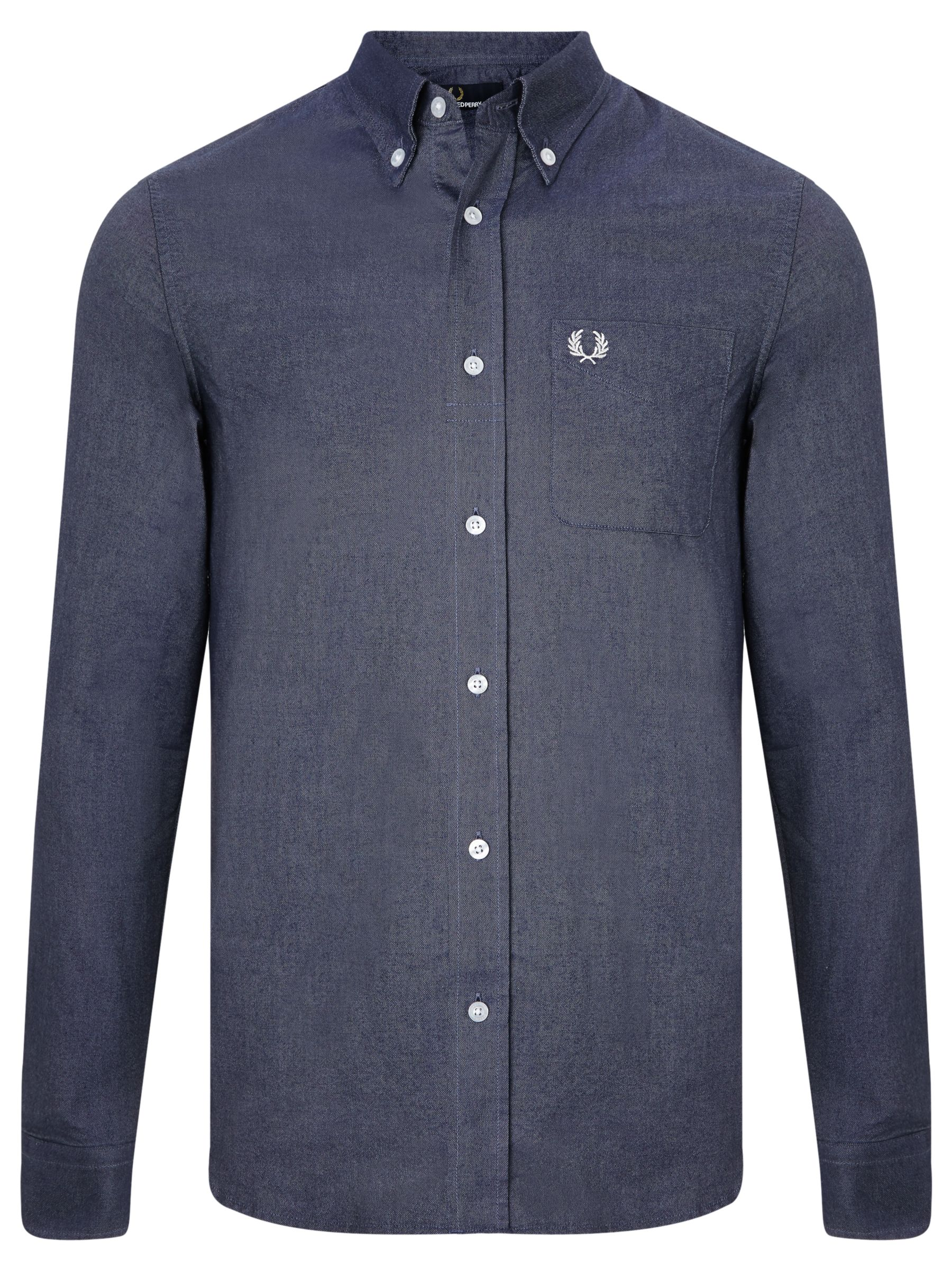 Fred Perry Oxford Long Sleeve Solid Shirt, Navy at John