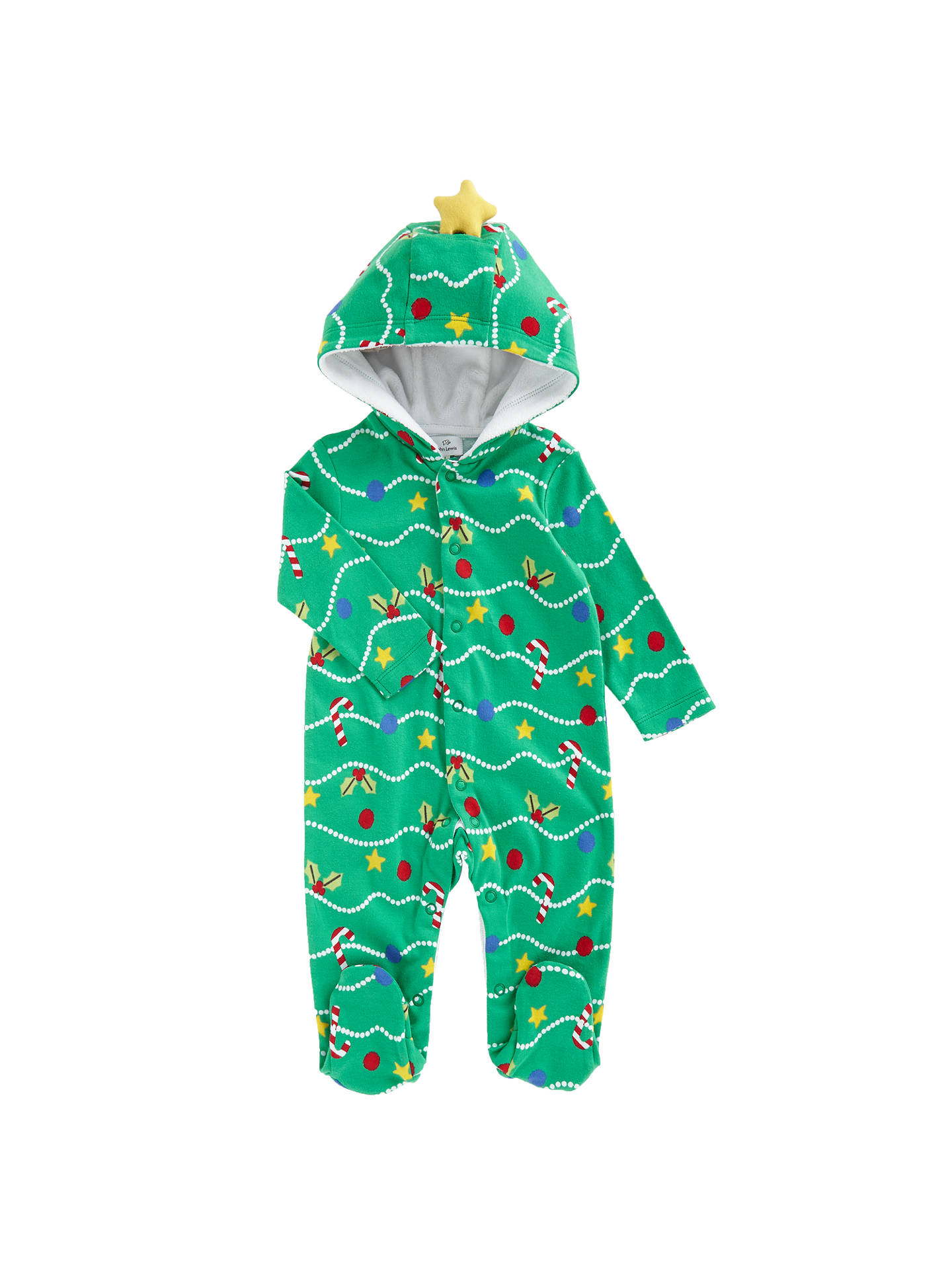ffdf9779e Buy John Lewis Baby's Christmas Tree Dress Up Romper, Green, Newborn Online  at johnlewis ...