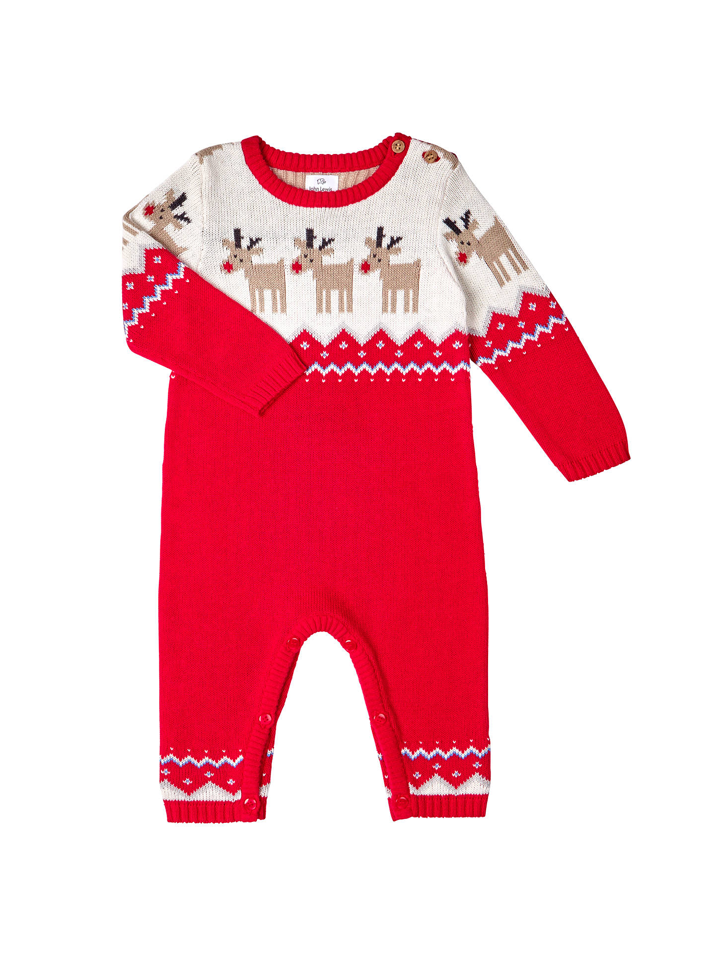 daca7595c Buy John Lewis Baby's Knitted Reindeer Romper, Red, Newborn Online at  johnlewis. ...