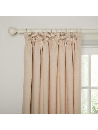 John Lewis & Partners Barathea Pair Blackout Lined Pencil Pleat Curtains, Natural