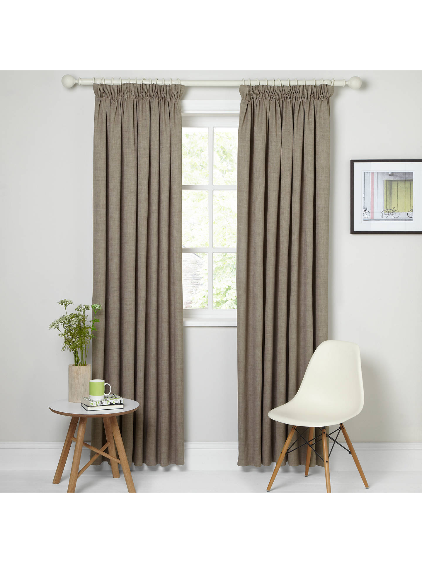 Buy John Lewis & Partners Barathea Pair Blackout Lined Pencil Pleat Curtains, Mocha, W117 x Drop 137cm Online at johnlewis.com