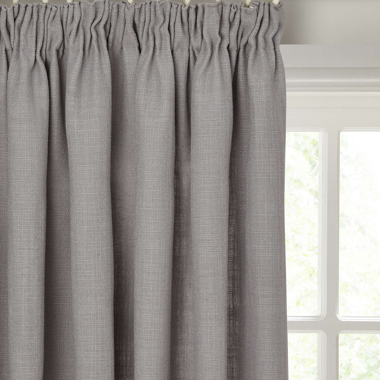 John Lewis Linen Blend Pair Lined Pencil Pleat Curtains, Flint by John Lewis