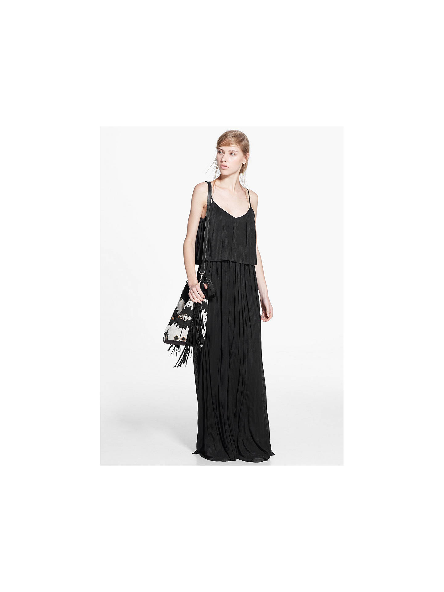 Buy Mango Long Pleated Dress, Black, 6 Online at johnlewis.com