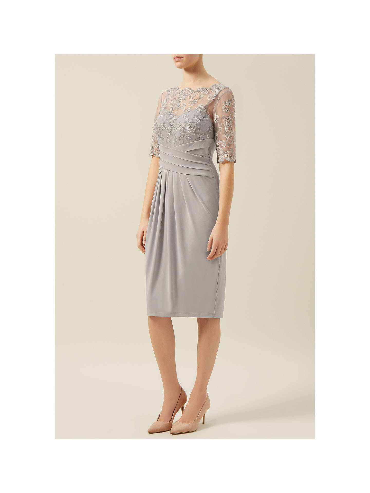 1a4dfb0e160 ... Buy Kaliko Lace and Jersey Dress, Light Grey, 8 Online at johnlewis.com  ...