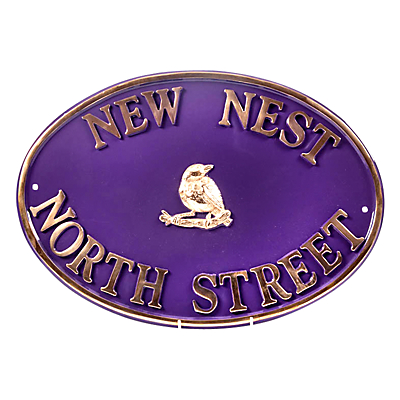 The House Nameplate Company Personalised Solid Brass Oval House Sign, Bird Motif