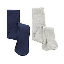 Buy John Lewis Baby Plain Tights, Pack of 2, Grey/Navy Online at johnlewis.com