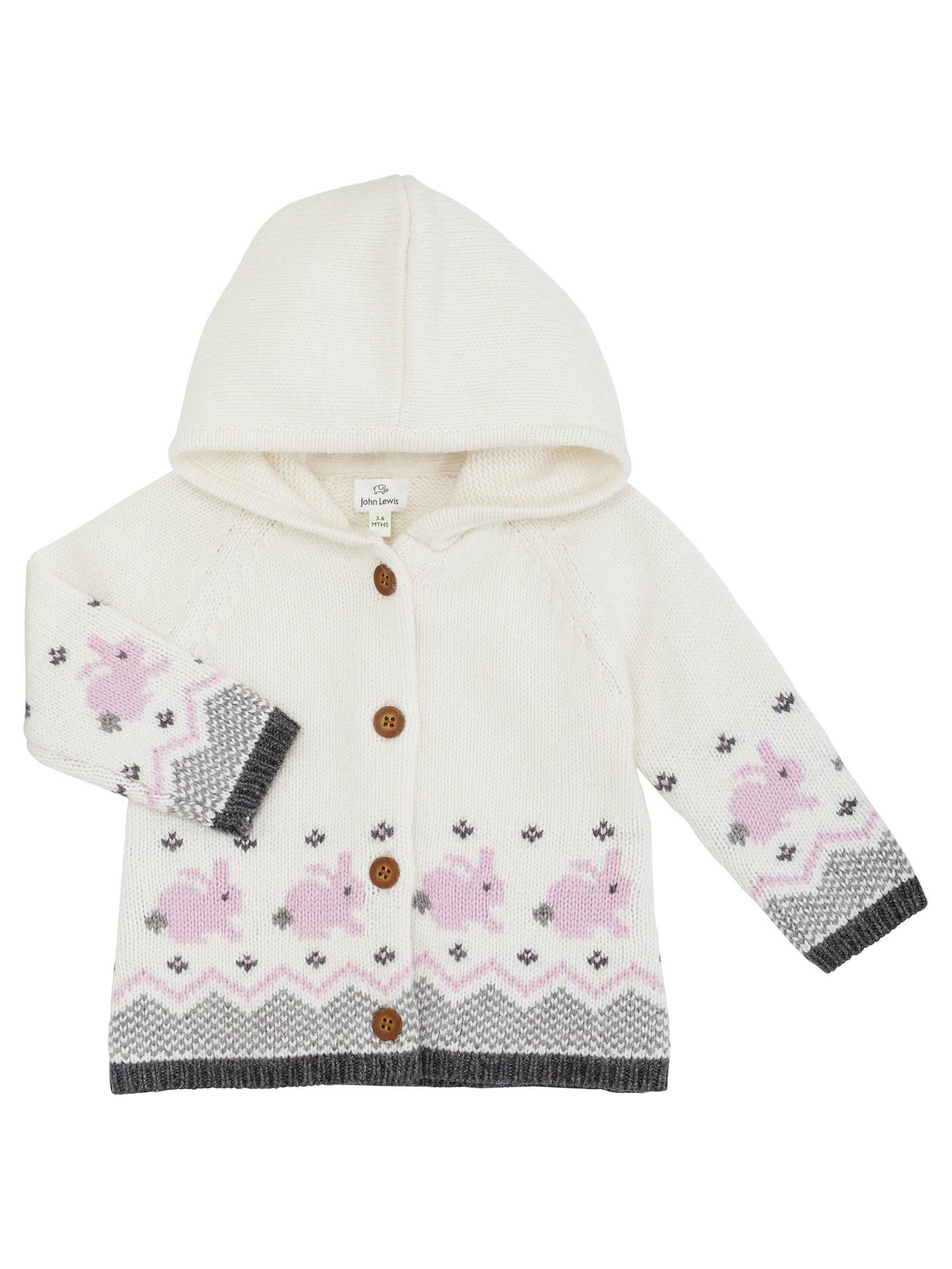 John Lewis Baby Bunny Hooded Coat, Pink at John Lewis & Partners