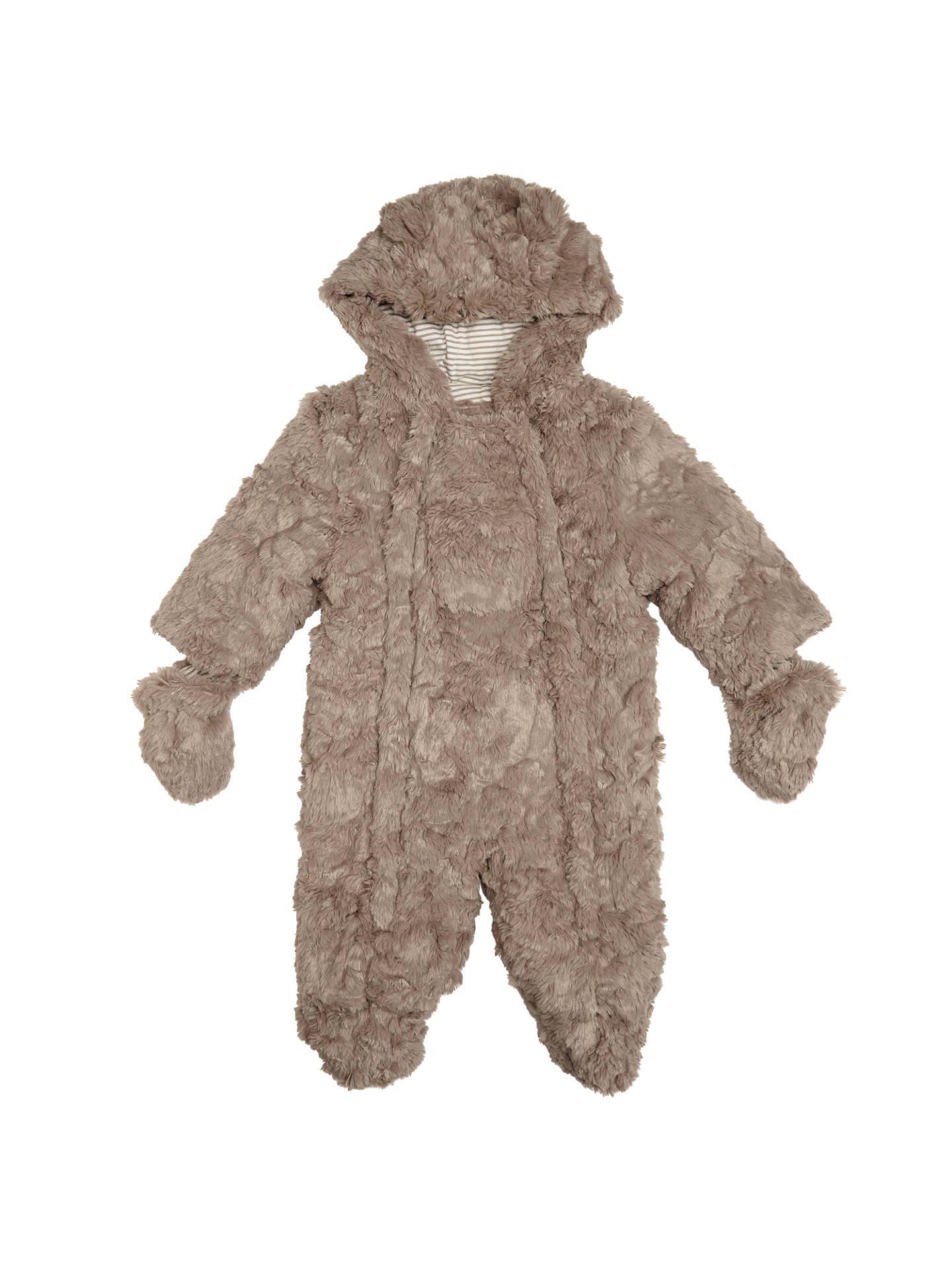 a5dfcee2b John Lewis Baby s Teddy Faux Fur Pramsuit