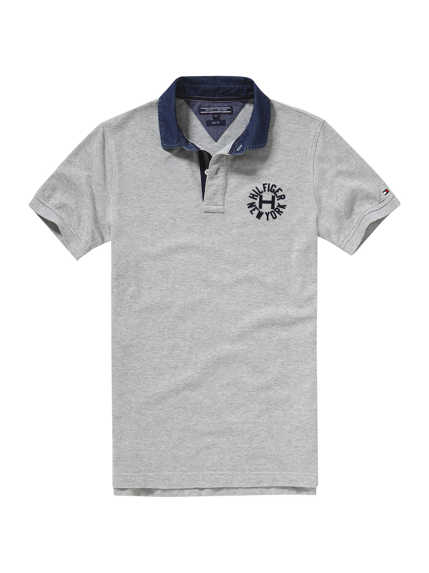 3a863c01 Buy Tommy Hilfiger Lacey Badge Polo Shirt, Cloud Heather, S Online at  johnlewis.