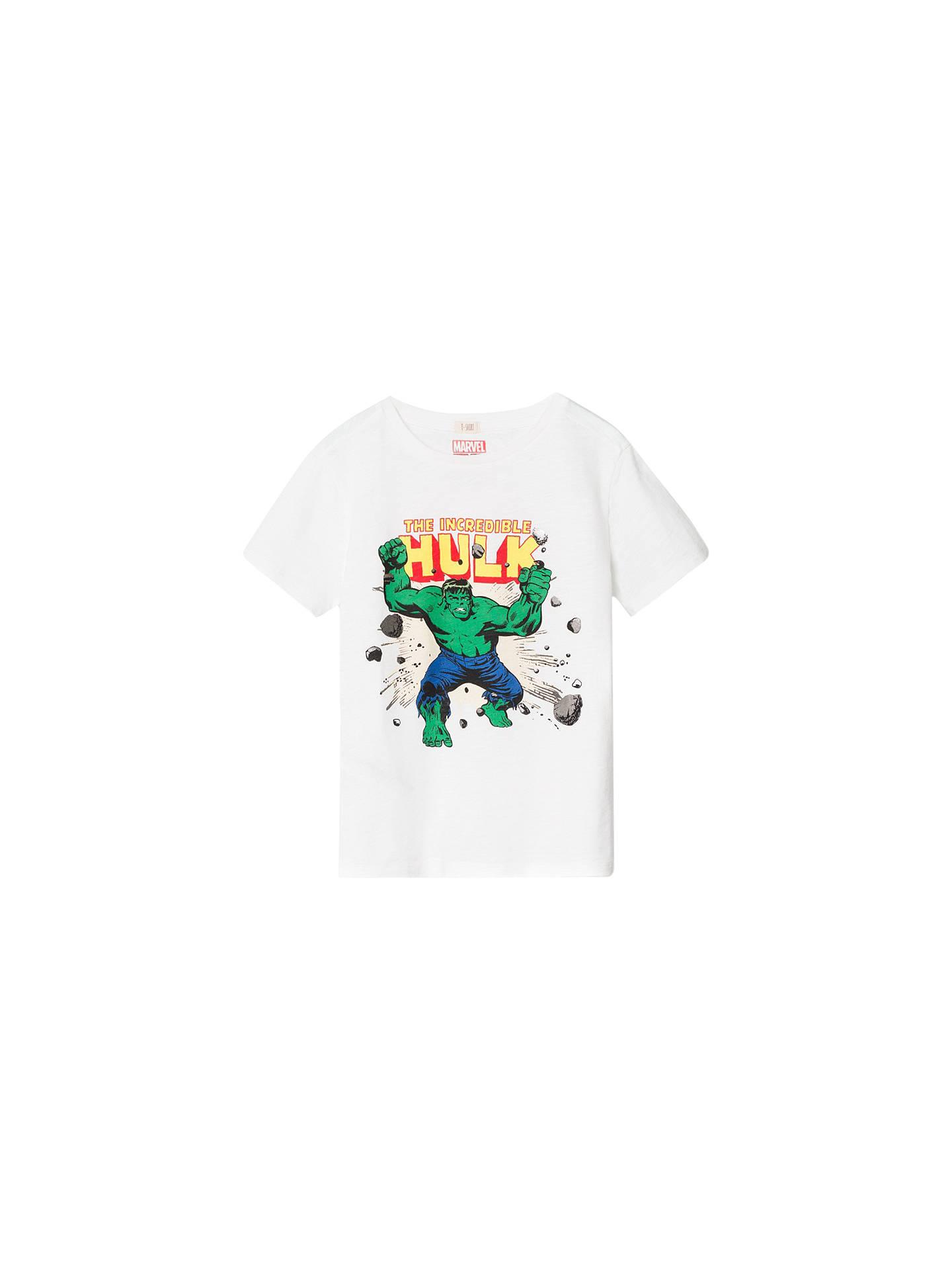 7cdc996ddc125b Mango Kids Boys' Marvel Incredible Hulk T-Shirt, White at John Lewis ...