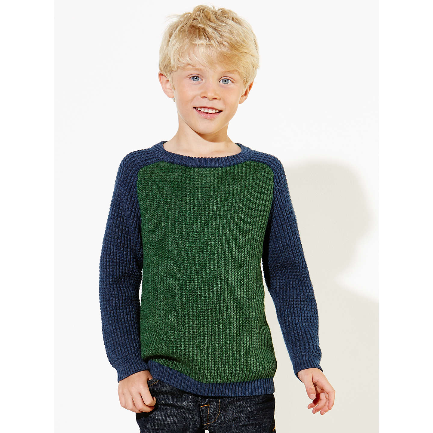 BuyJohn Lewis Boy Block Colour Knit Jumper, Green/Blue, 2 years Online at johnlewis.com