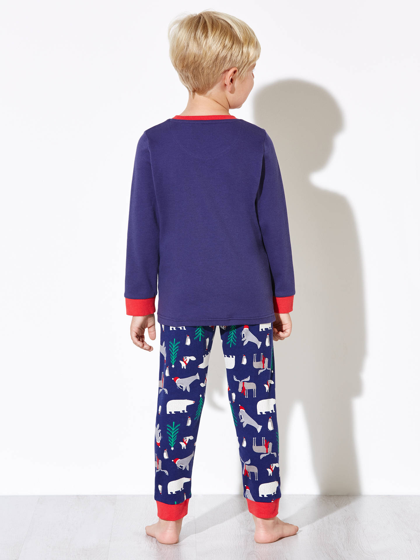 Buy John Lewis Boys' Polar Bear Pyjamas, Navy/Red, 2 years Online at johnlewis.com