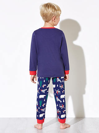 Buy John Lewis Boys' Polar Bear Pyjamas, Navy/Red, 10 years Online at johnlewis.com
