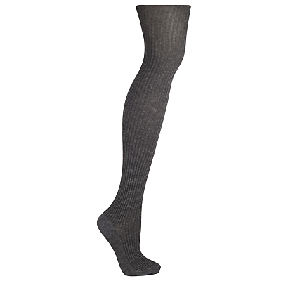 John Lewis Wool Blend Bodyshaper Opaque Tights, Charcoal