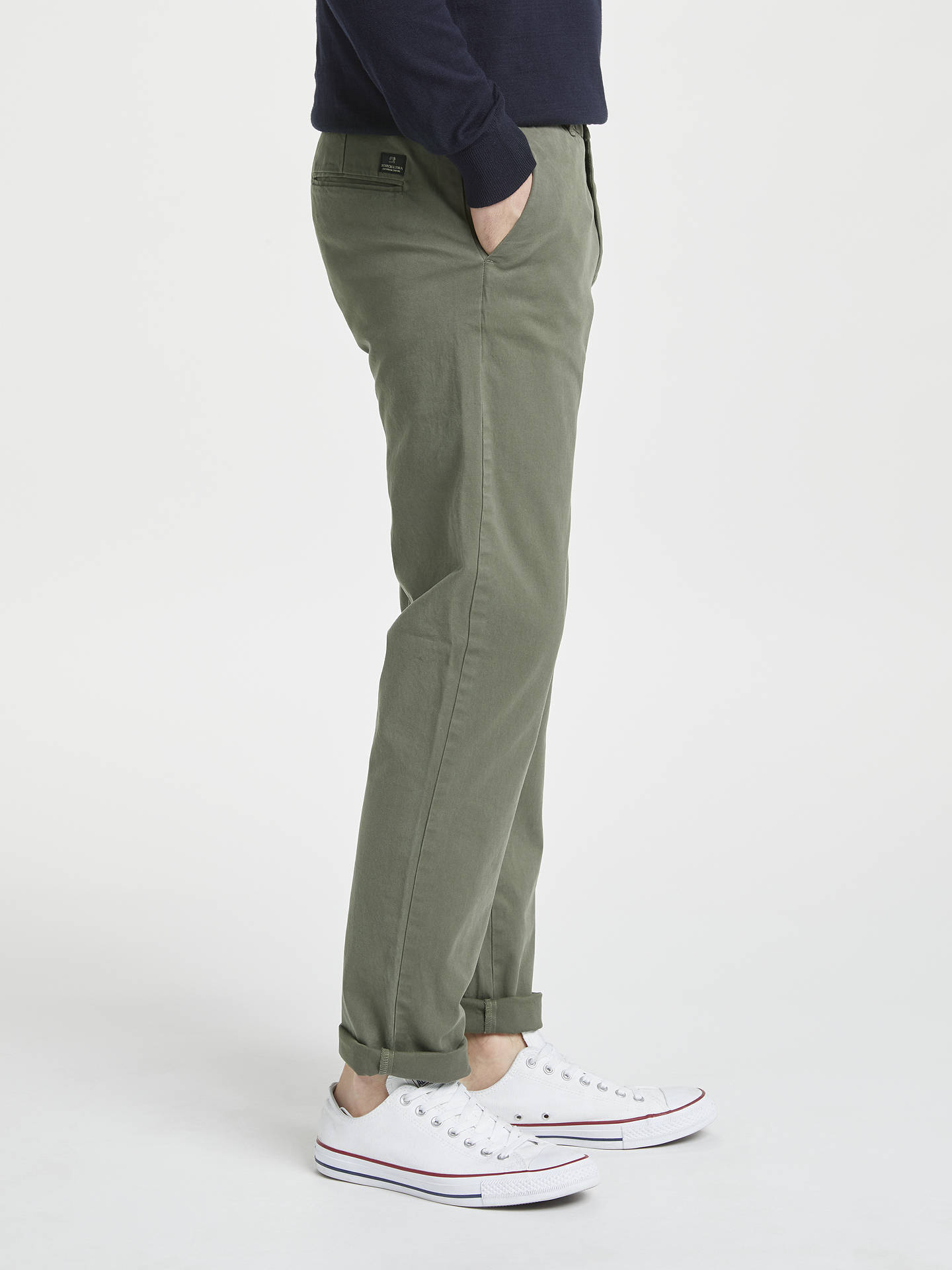 Buy Scotch & Soda Stuart Peached Twill Chinos, Grey, 30R Online at johnlewis.com