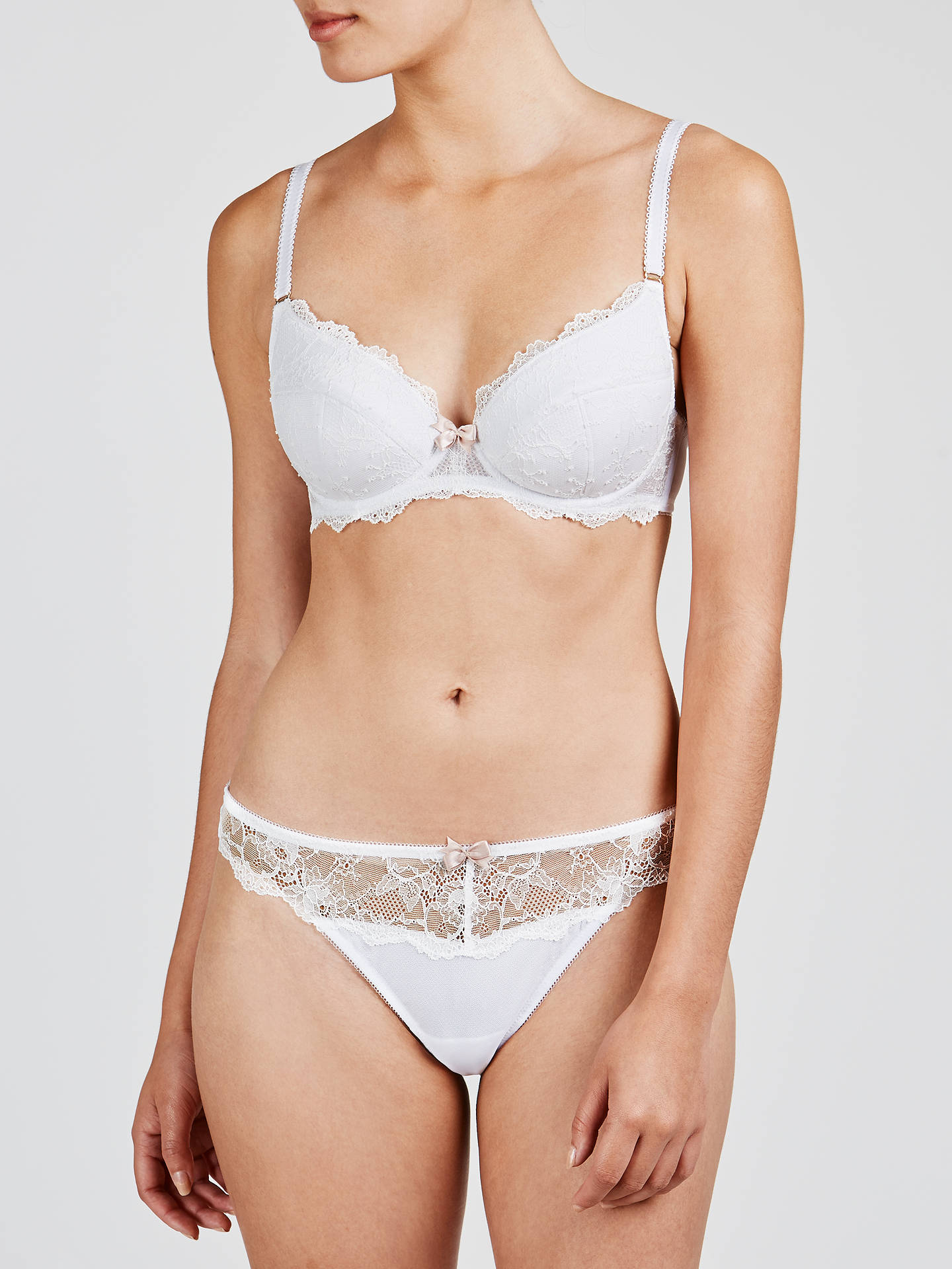 Buy COLLECTION by John Lewis Genevieve Lace Plunge Bra, White, 30D Online at johnlewis.com