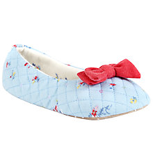 Buy John Lewis Quilted Floral Slippers, Blue/Pink Online at johnlewis.com