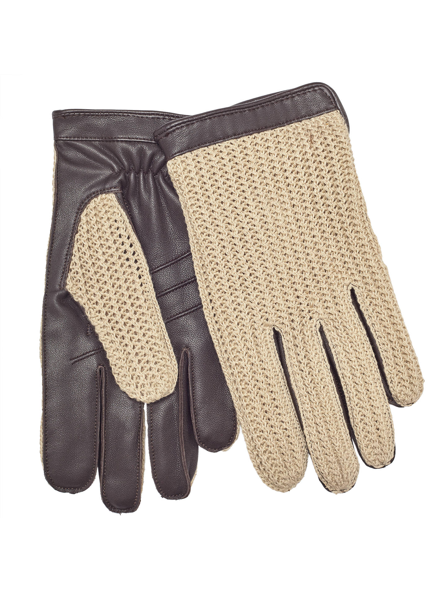 BuyJohn Lewis & Partners Crochet Back Wool Lined Leather Driving Gloves, Brown, M Online at johnlewis.com