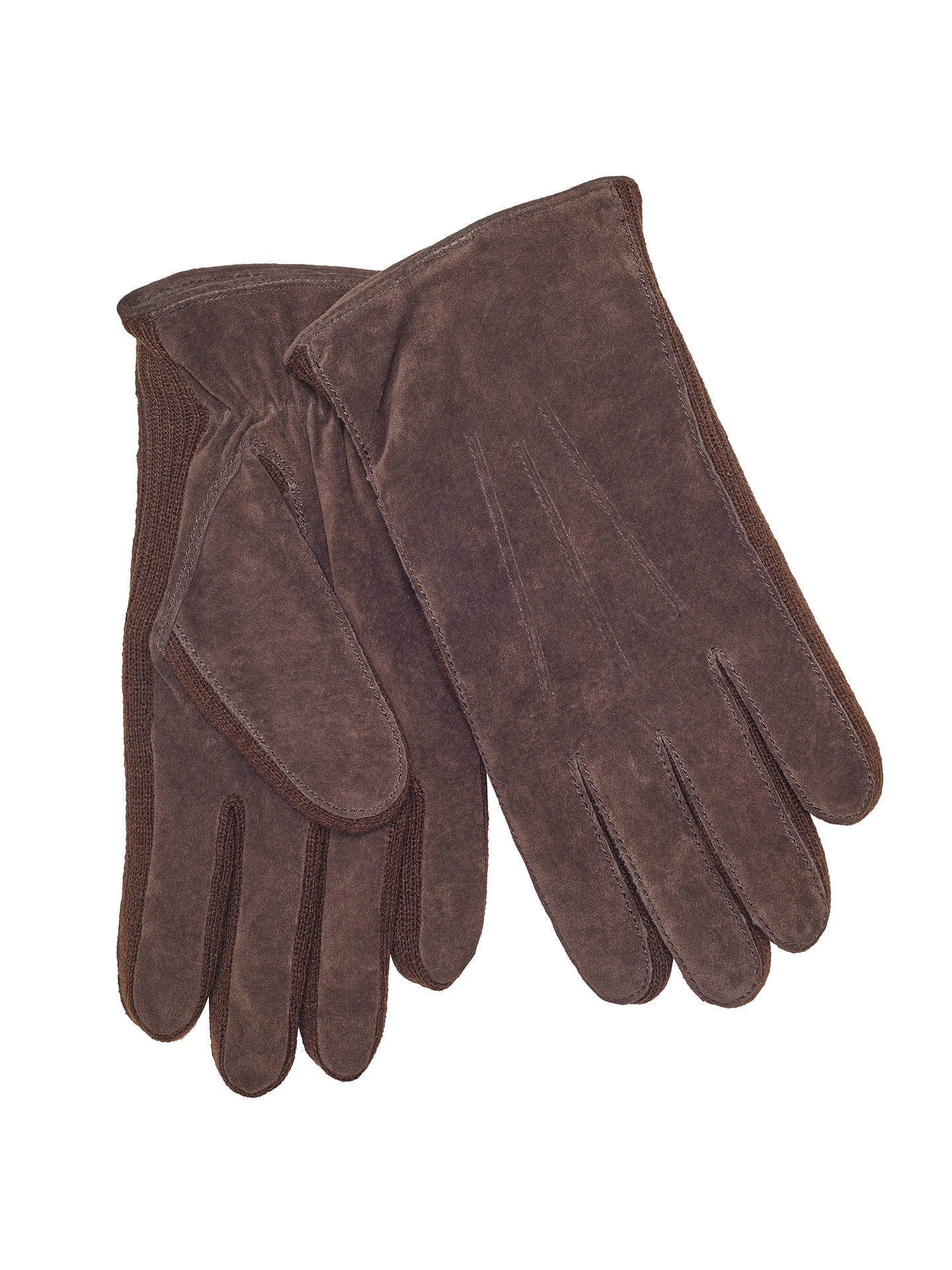 BuyJohn Lewis & Partners Suede Sandwich Top Stitch Gloves, Brown, M Online at johnlewis.com