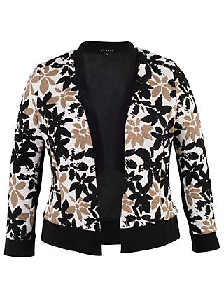 Chesca Trim Fancy Floral Shrug, Ivory/Black