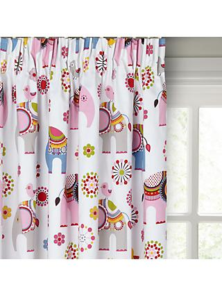 little home at John Lewis Abbey Elephant Pencil Pleat Pair Blackout Lined Children's Curtains