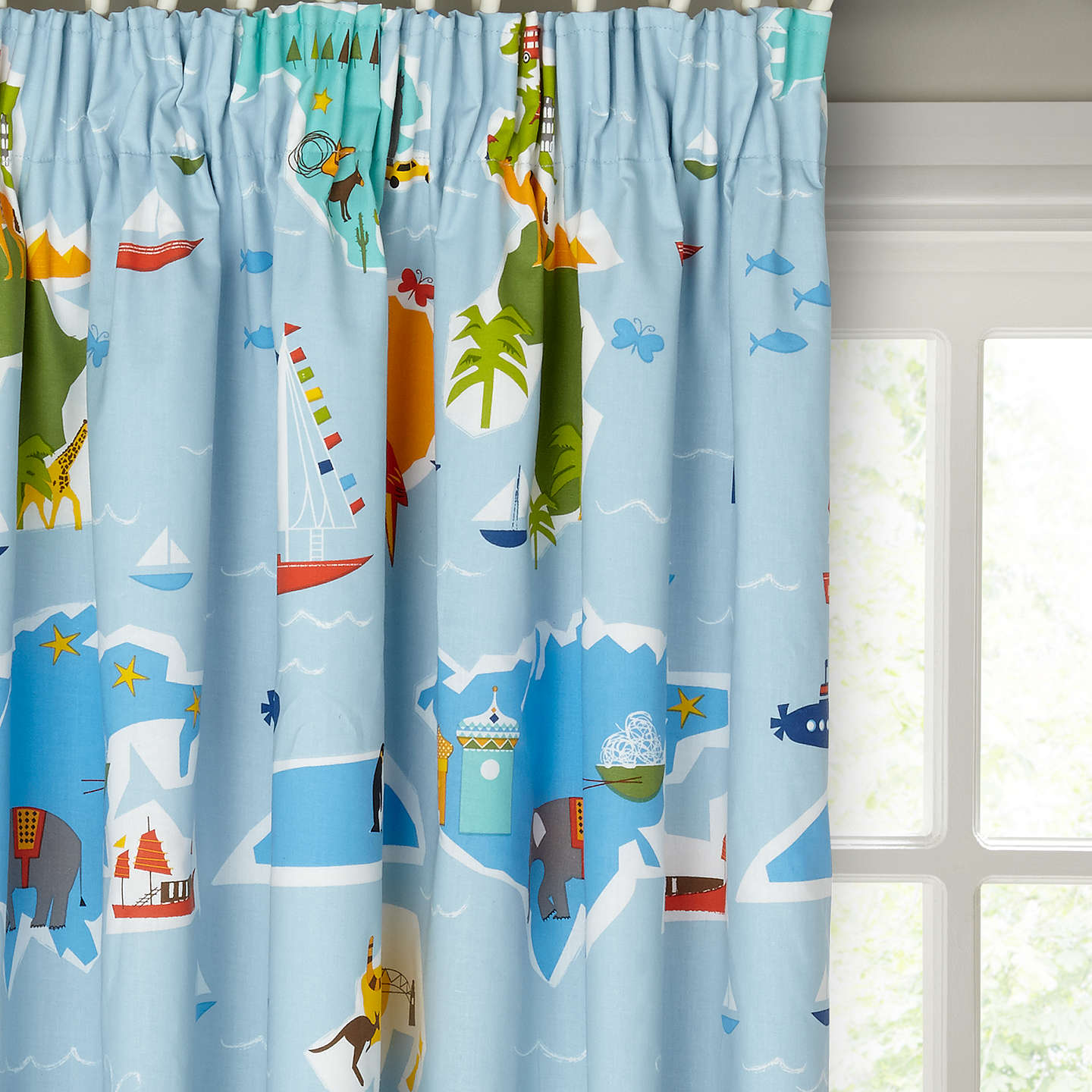 Buylittle Home At John Lewis Globe Trotter Pencil Pleat Pair Blackout Lined  Curtains, W165 X ...