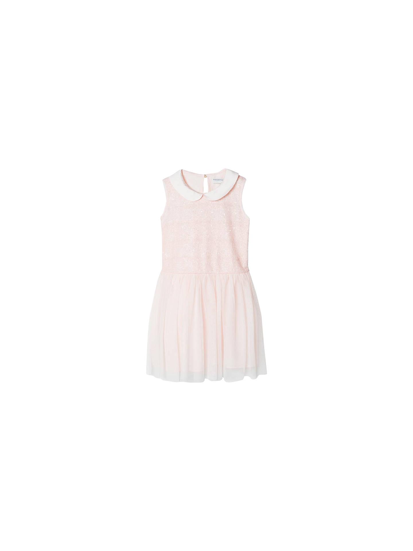 9f4b5c7296 Mango Kids Girls' Sequin Tulle Dress, Pastel Pink at John Lewis ...