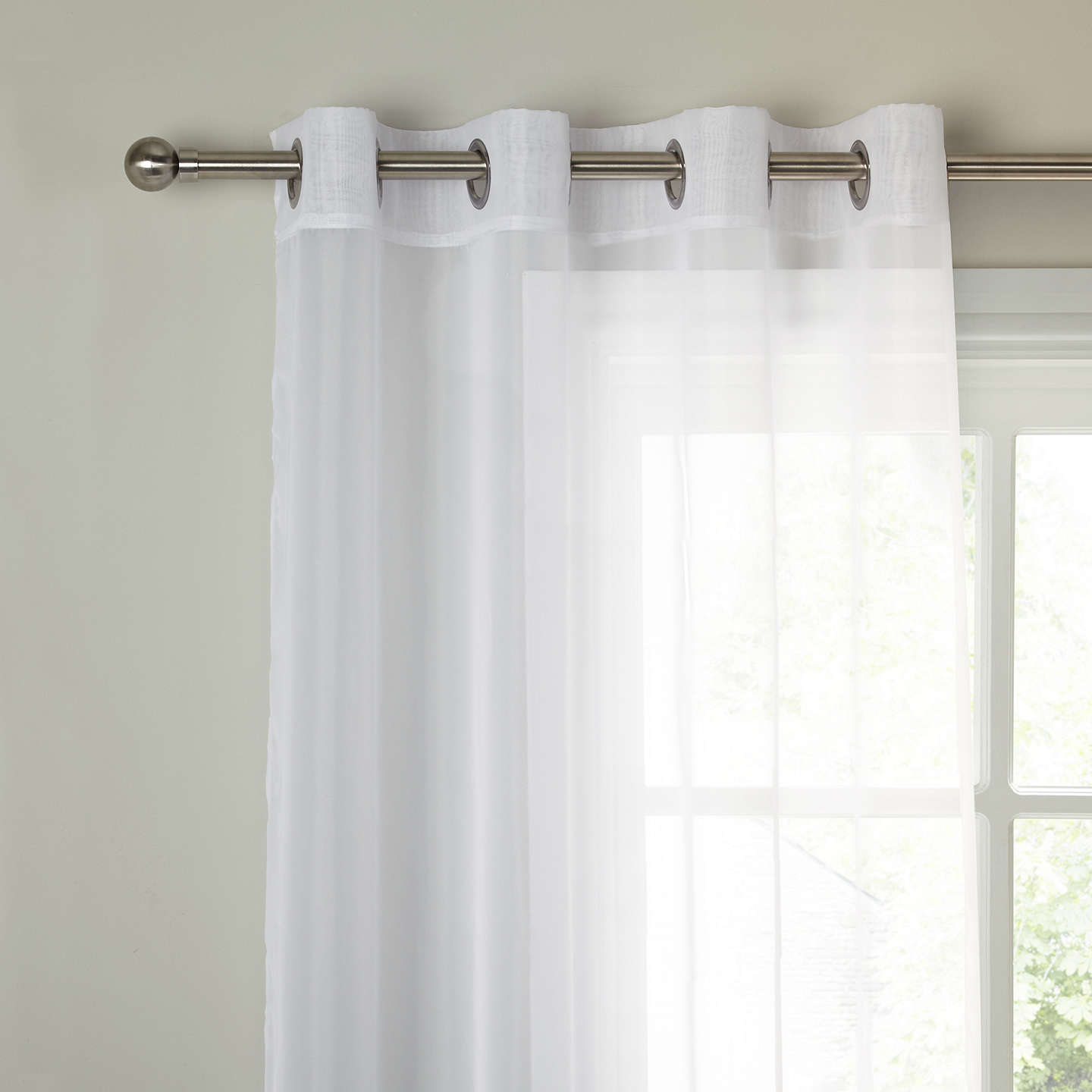 John Lewis The Basics Voile Eyelet Panel White At John Lewis