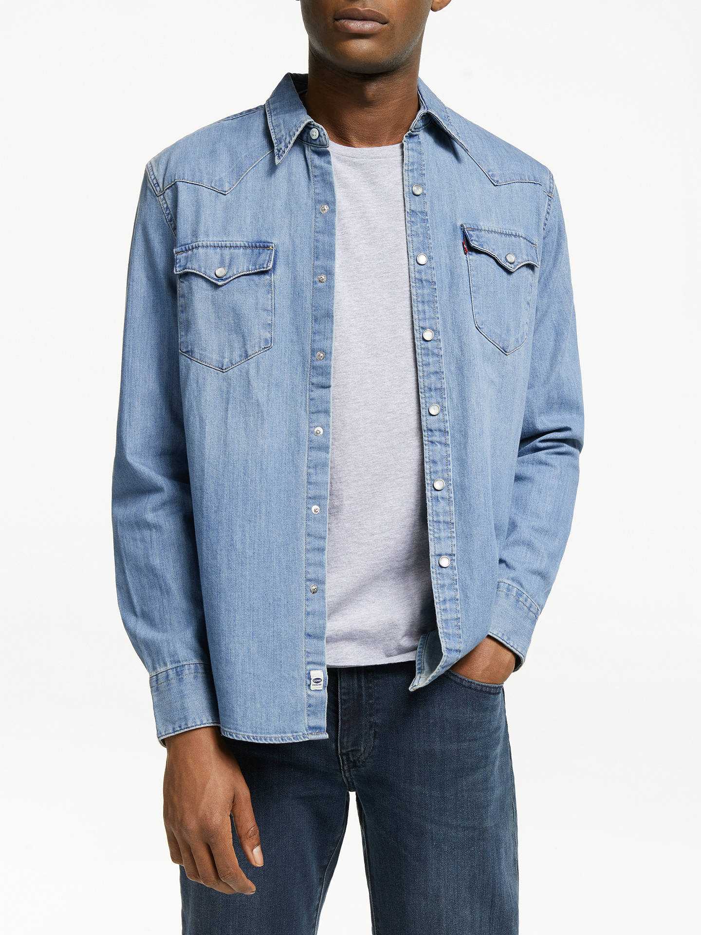 71ec6f06 Buy Levi's Barstow West Denim Shirt, Red Cast Stone, S Online at johnlewis.