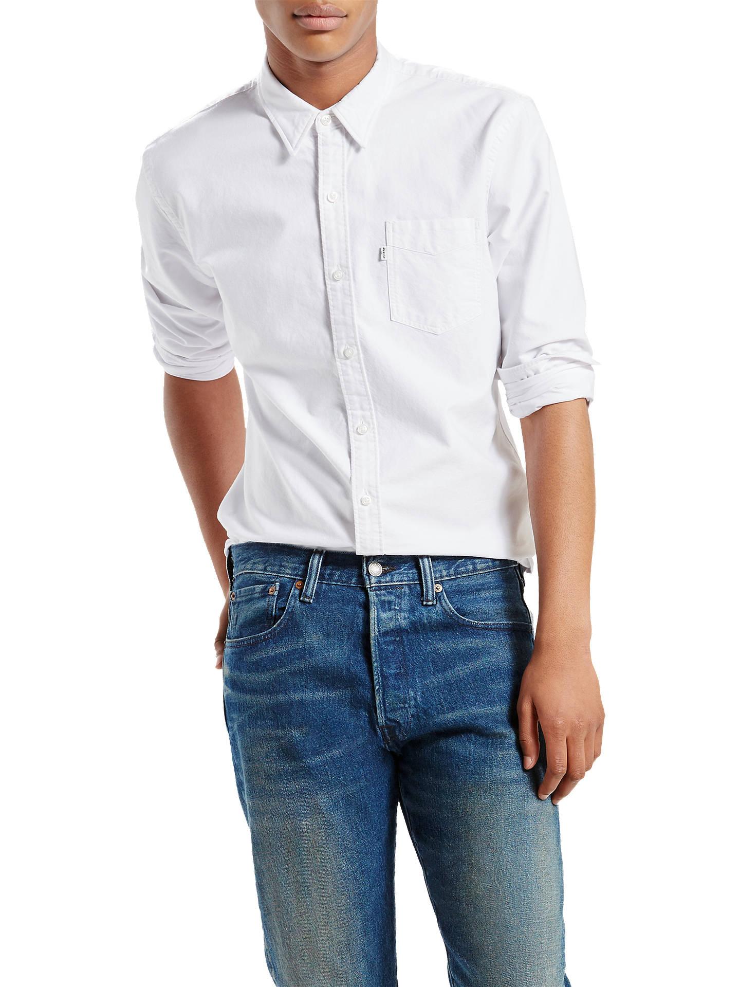 BuyLevi's Sunset One Pocket Oxford Shirt, White, S Online at johnlewis. ...
