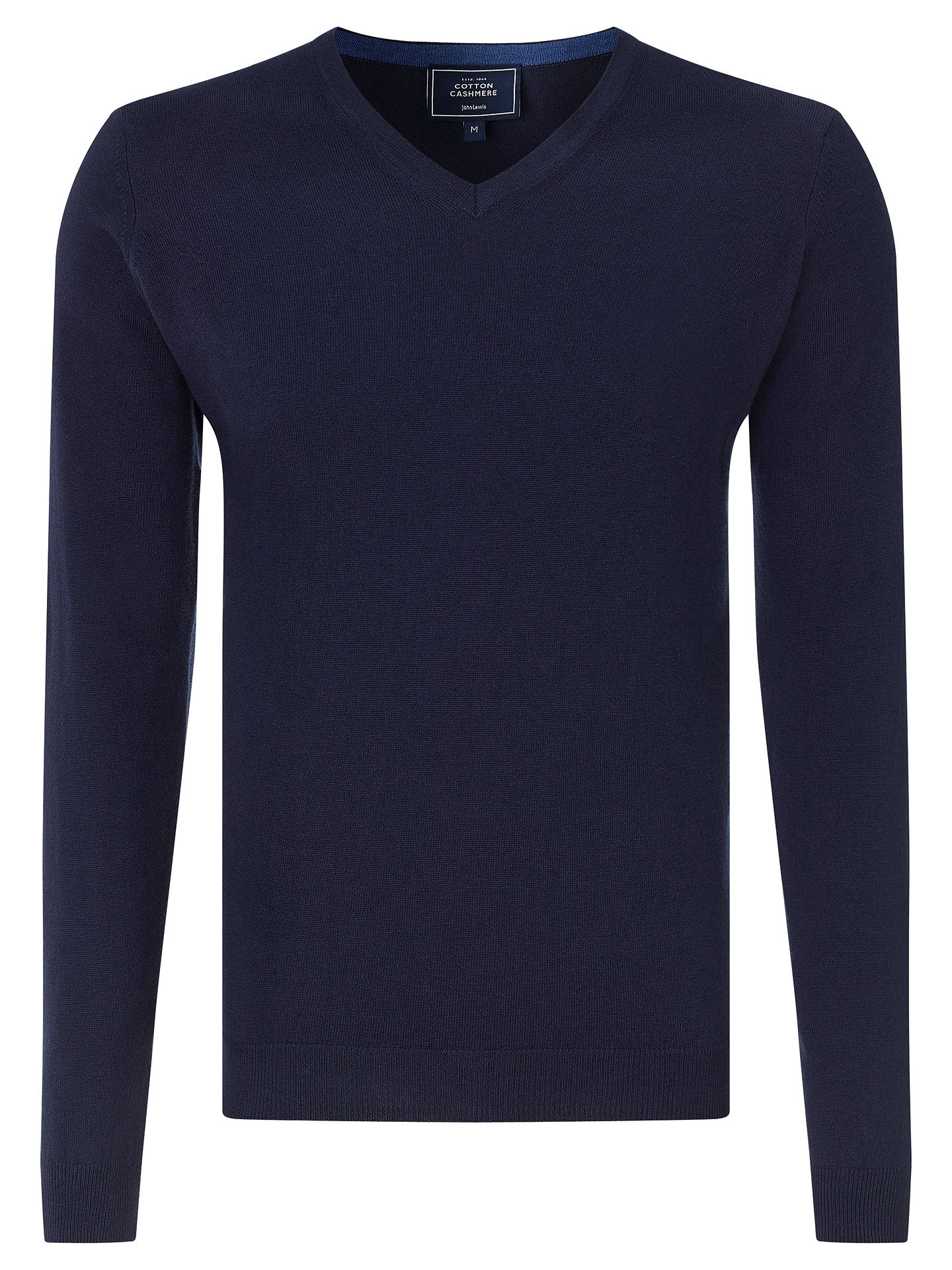 3b3bb04268 Buy John Lewis Cotton Cashmere V-Neck Jumper, Navy, S Online at johnlewis  ...