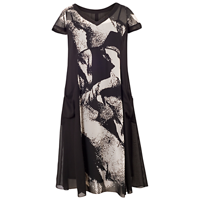 Chesca Abstract Print Dress, Black/Ivory