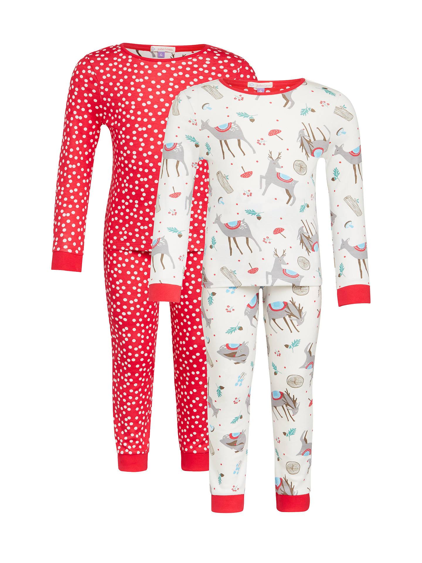 BuyJohn Lewis Girls  Christmas Reindeer Pyjama Set a0a641c50