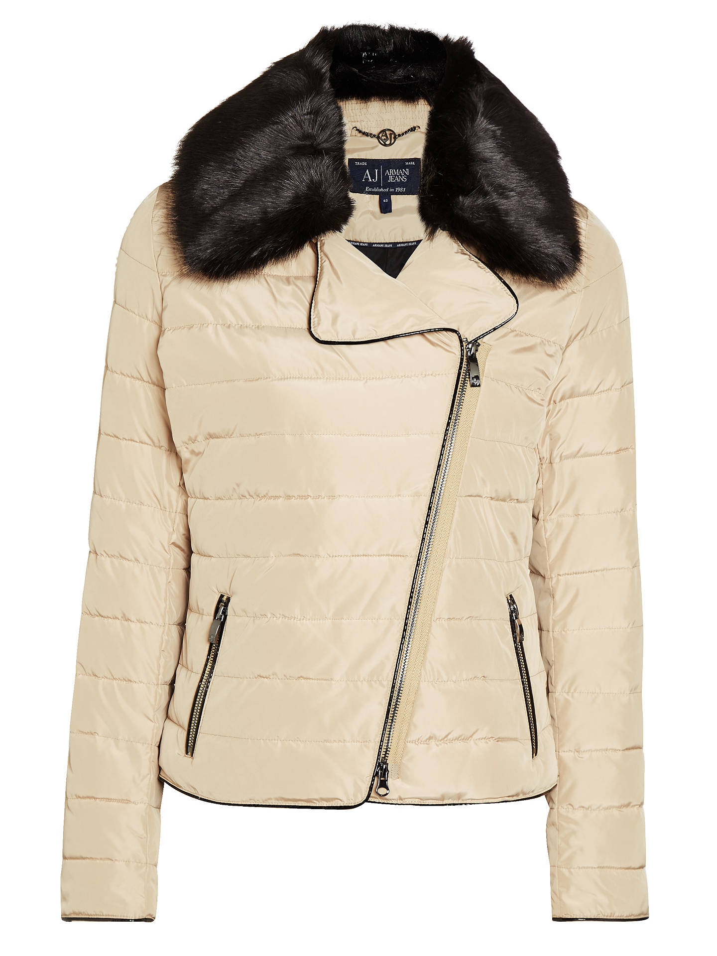 8bd786955d Armani Jeans Faux Fur Collar Quilted Jacket, Beige at John Lewis ...