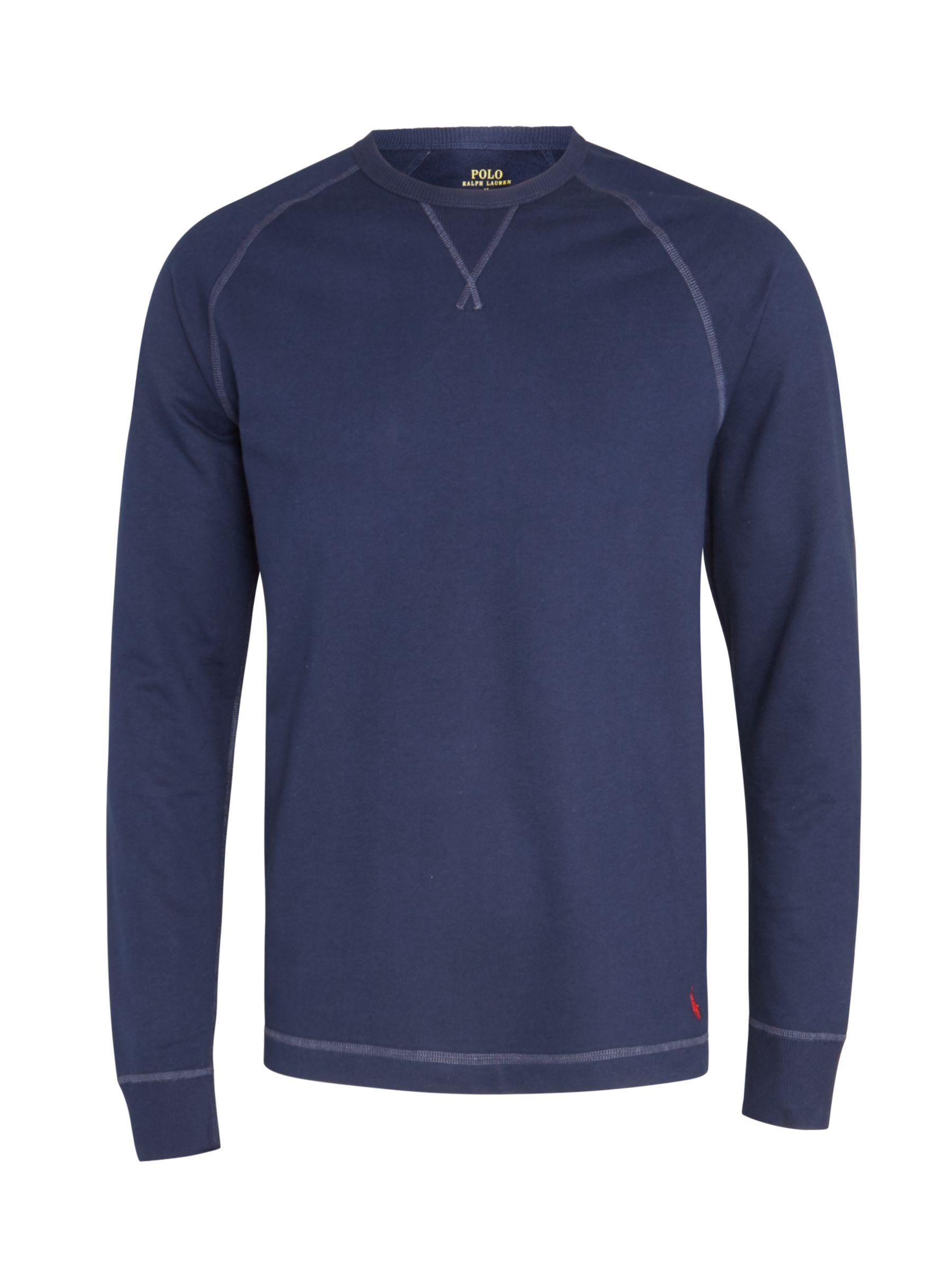 2e6a7be3 Polo Ralph Lauren Cotton Terry Crew Neck Sweatshirt, Navy at ...
